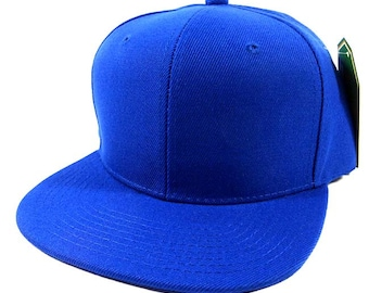 e36d43c4b36 Custom Embroidery Snapback Hat Royal Blue Embroidered Hat Your Color Choice  Custom Embroidery Solid Flat Bill Snapback