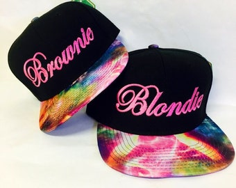 Blondie and Brownie Galaxy Snapback Hats Cursive Lettering Blonde and  Brunette Hats Best Friend Snapbacks Flatbill Hats 4112d7f8b9ea