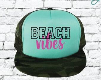 63f9c707b44 Beach Vibes Camo Trucker Hats Mesh Back Hat Snapback Party Hats Girls  Weekend Guys Weekend River Trip