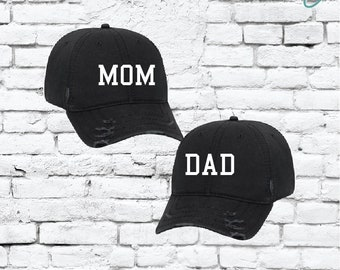 c03c1f5b57d Mom and Dad Embroidery Ripped Distressed Dad Couples Hat 6 Panel Low  Profile Twill Superior Washed Cotton Baseball Cap Baby Announcment