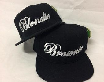 f827907dcd4 Blondie and Brownie Snapback Hats Cursive Lettering Blonde and Brunette Hats  Best Friend Snapbacks Flatbill Hats