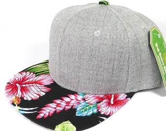 bb8a86de4eb Custom Embroidery Snapback Hawaiian Floral Brim Heather Grey Hat  Personalized Snapback Grey Cap with Multicolor Brim