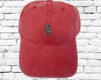 f688e12667cf6 Christmas Tree Unstructured Dad Hat Xmas Hat Light Pink Navy and White or  Your Color Choice