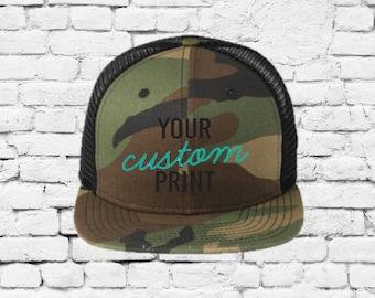 ff4474fe1df3d Camo New Era Original Fit Snapback Trucker 9 Fifty Cap Custom Embroidery  Your Custom Print Mesh Back Trucker Hat NE403