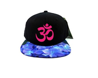 774a09b4505 OM Snapback Black Cap with Blue Hydrangea Floral
