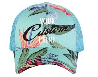 CC Trucker Hat Custom Embroidery Tropical Hawaiian Floral Flowers Leaves Dad  Baseball Cap Your Custom Print Teal Aqua Mint Mesh Back Trucker 397b4e16d94a