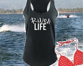 d66b4611382df River Life Tank Women s Racerback River Cover Up Gathered Back Tank Custom Tank  Top Custom Personalized Fitted Tank