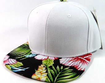 1fa9bd99bd5 Custom Embroidery Hawaiian Snapback White and Floral Brim Hawaiian Hat  White Cap with Multicolor Brim