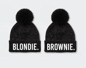 028719bf441 Youth Blondie and Brownie Print Beanie Childs Pom Pom Beanie