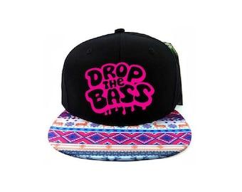 589f3cc0faa Aztec Bass Head Drop the Bass Snapback Black Cap with Multicolor Brim