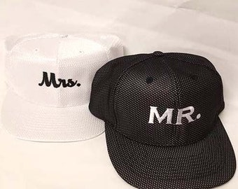 Mr. and Mrs. Snapbacks Custom Floral Print Snapbacks Couple Snapback Couple  Hats 2f03b42eabf4