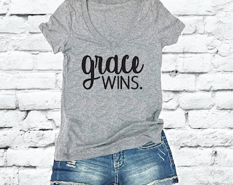 a38749ac591 Grace Wins Tee Shirts Custom Color Print Women s V-Neck Fitted T-shirt