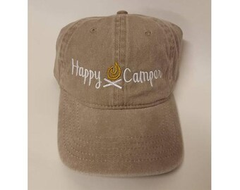 2acca87abf84d1 Happy Camper Adult Dad Hat 6 Panel Low Profile Twill Cotton Baseball Cap  Old Weathered Look