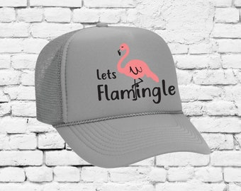 26c95b74 Lets Flamingle Print Trucker Hats Mesh Back Snapback Hat Your Color Choices  Summer Vacation River Gift Camping Sun Visor Cute Campfire Hat