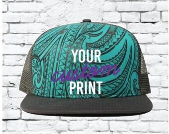 3ea6f096 Custom Embroidery Tribal Snapback Teal Cap with Grey Brim Trucker Hat  Custom Snapback Tribal Print Aqua Hat Beautiful Design Snapback