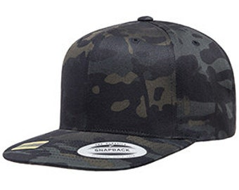 ab9068cc1c7 Custom Snapback Hat Camo Multicam Black Yupoong Classic Snapback Your Color  Choice Custom Embroidery 6089M Classic Flat Bill Snapback