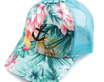 CC Trucker Hat   Custom Embroidery Pink Floral Striped Cap   Your Custom  Print   Mesh Back Trucker Hat 66acadb5d673
