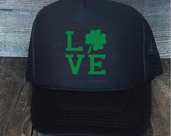 a039b6e838b Irish Love St Pattys Saint Patricks Day Trucker Hats Mesh Back Snapback  Shamrock Hat Your Color Choices Gift Cute Hat