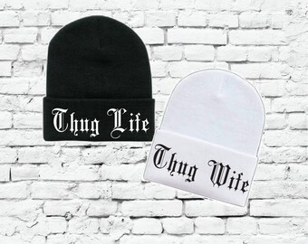 Thug Life and Thug Wife Beanies Couples Knit Hats Wedding Gift Bride and  Groom a2c2bd22ec88