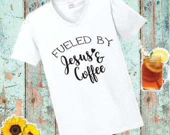3c215d7c32f Fueled by Jesus and Coffee Print Women s V-Neck T-shirt Snowflake Christmas  Shirt Custom Personalized Fitted Tee