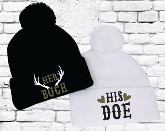 166c35cbb57 Her Buck and His Doe Pom Pom Beanies Knit Hats Sisters Ski Snow Cold Winter  Pom Pom Beanies Knit Party Hats Funny Hats
