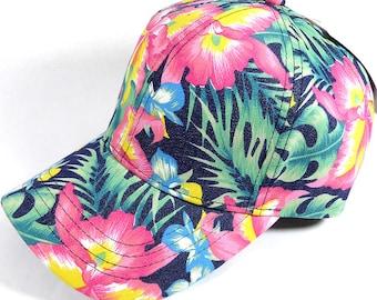 Custom Embroidery Full Floral Baseball Cap Snapback Print Brim Hawaiian  Hibiscus Palm Hat Adjustable Custom Tropical Flower Allover 8e1cda590689