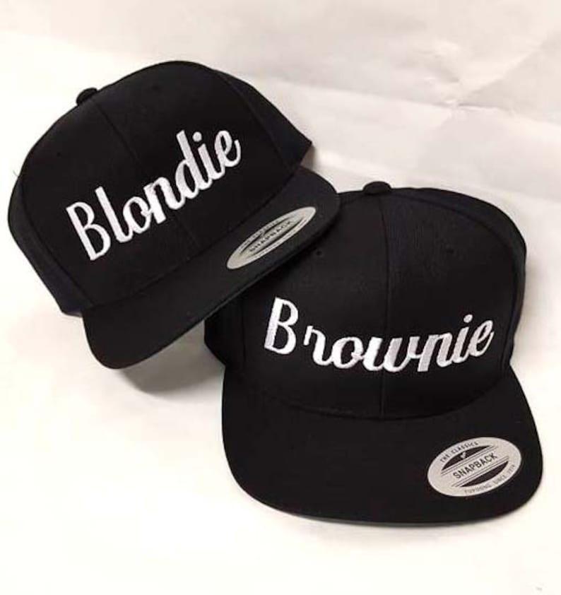 d63b7216 Blondie and Brownie Snapback Hats Cursive Lettering Blonde and Brunette  Hats Best Friend Snapbacks Flatbill Hats