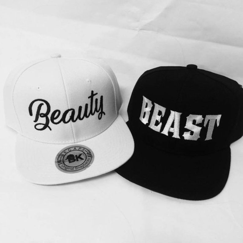 dac6c68d Beauty and Beast Snapbacks Black and White Hats Couple Snapback Couple Hats