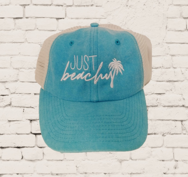 9c3749cb9 Just Beachy Dad Hat Embroidery Baseball Cap Trucker Beach Summer Hats Best  Friends Mesh Back Trucker Hat Distressed Gift Vacation Palm Tree