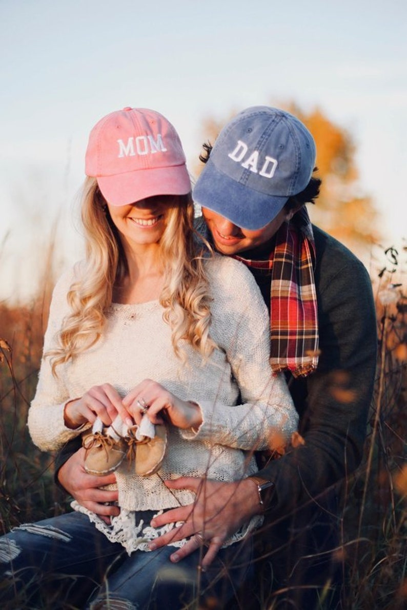 83eaf2a50dec8 Mom   Dad Unstructured Dad Hat Gift or Baby Announcement Coral
