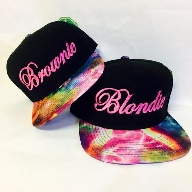 56f803794 Blondie and Brownie Galaxy Snapback Hats Cursive Lettering Blonde and  Brunette Hats Best Friend Snapbacks Flatbill Hats
