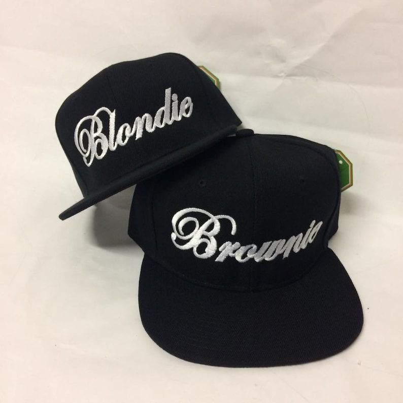 ce8a2e83f Blondie and Brownie Snapback Hats Cursive Lettering Blonde and Brunette  Hats Best Friend Snapbacks Flatbill Hats