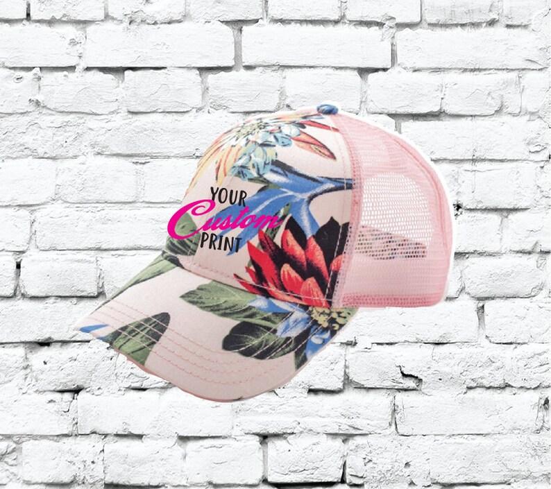 5802273e7163bf CC Trucker Hat Maui Pink Custom Embroidery Tropical Hawaiian   Etsy