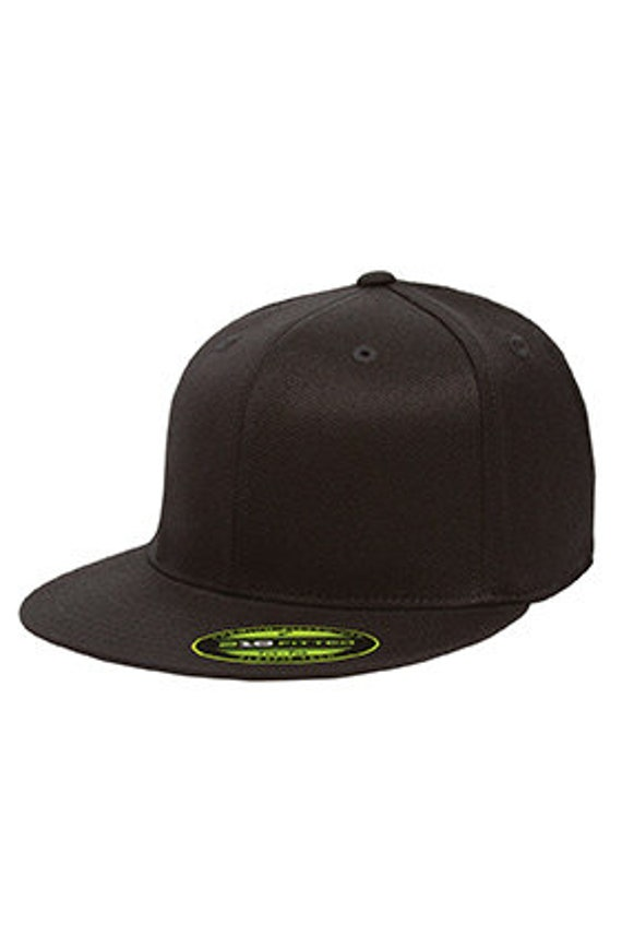 Custom Embroidery Flexfit Fitted Hat with Your Custom Print Flat Bill High  Profile Hat 6210
