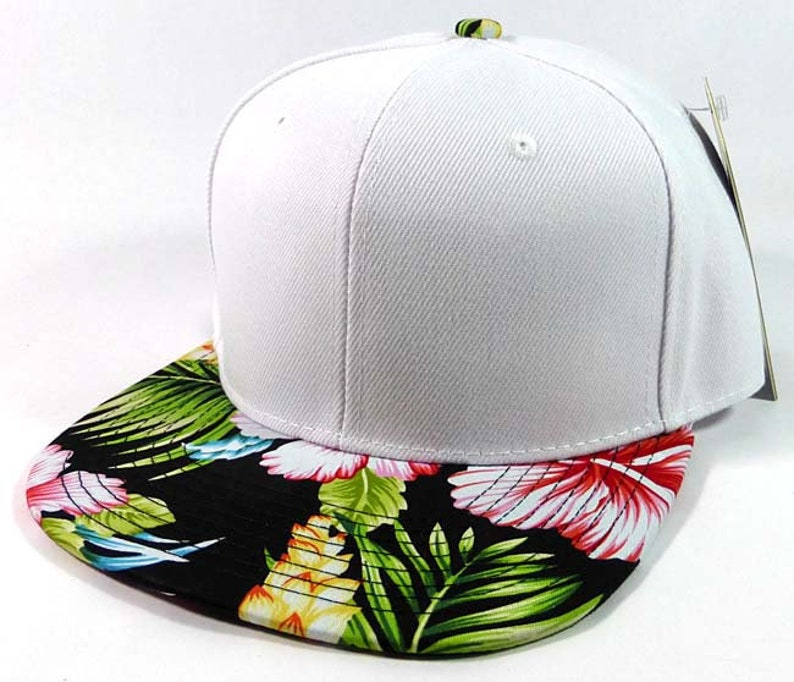 Custom Embroidery Hawaiian Snapback White and Floral Brim Hawaiian Hat  White Cap with Multicolor Brim