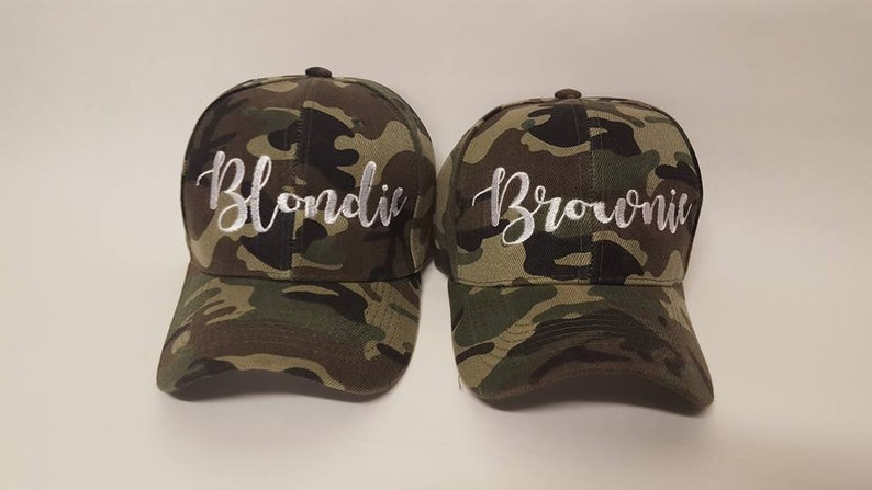 f03b38cc7 Blondie and Brownie Camo Baseball Hats Blonde and Brunette Best Friends  Structured 6 Panel Caps