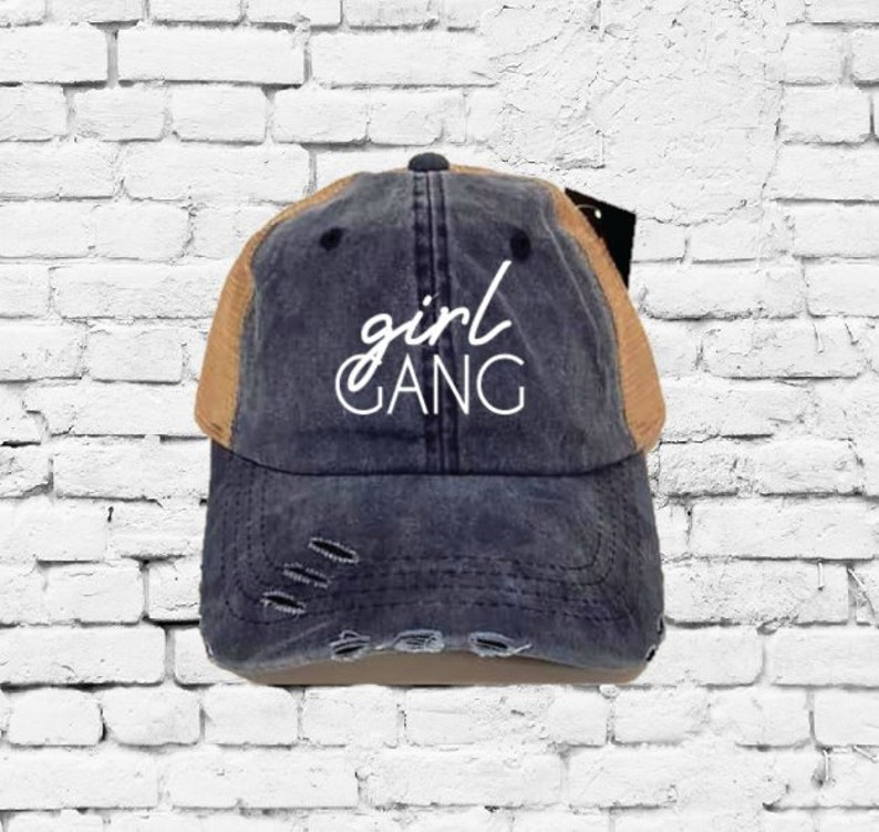Girl Gang Dad Hat Embroidery Baseball Cap Trucker Fun Girls Trip Hats Best  Friends Mesh Back Trucker Hat Distressed Gift for Mom or Friend