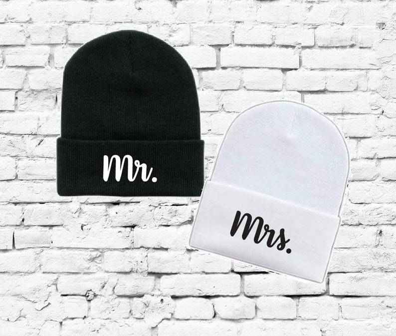 a08e5529983 Mr. and Mrs. Beanies Couples Knit Hats Wedding Gift Skull Cap