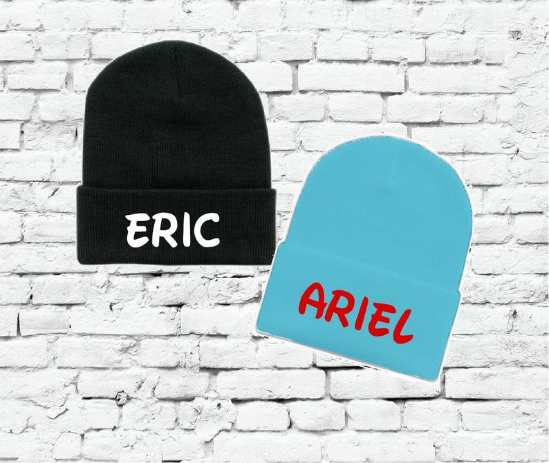 410b0723942 Eric and Ariel Beanies Couples Knit Hats Fun Trip or Travel