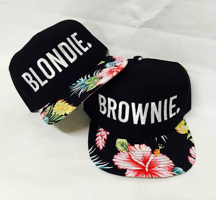 75e1270ef Blondie and Brownie Hawaiian Snapback Hats Block & Heart Lettering Blonde  and Brunette Hats Best Friend Snapbacks Flatbill Hats Couple Pair