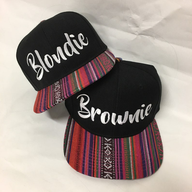 34fdb32d224 Blondie and Brownie Aztec Snapback Hats Bold Chunky Lettering