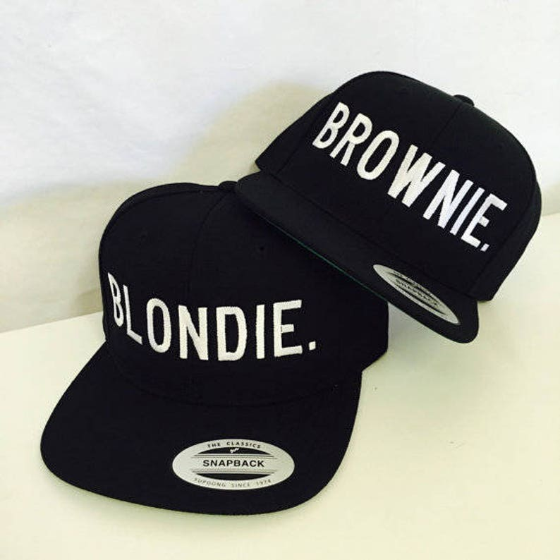 98acba4b3 Blondie and Brownie Snapback Hats Block Lettering Blonde and Brunette Hats  Best Friend Snapbacks Flatbill Hats