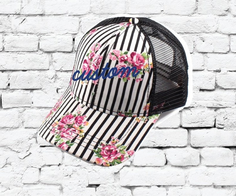 15c03101839 CC Trucker Hat Custom Embroidery Pink Floral Striped Cap Your