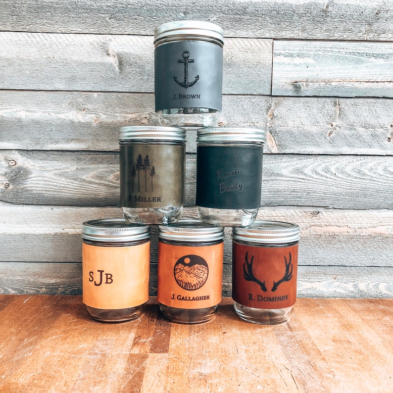 Custom Leather Mason Jar Sleeve Leather anniversary gift image 0