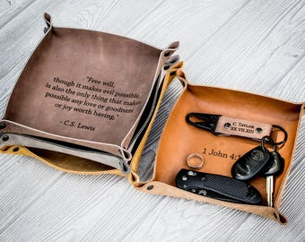 Leather valet tray, fathers day gift, leather catchall, anniversary, gift for him, personalized gift, mens gift