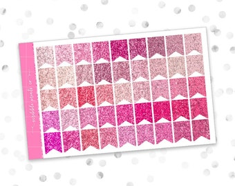 Mini Glitter Flags (Glossy Planner Stickers)