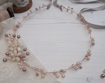 Rose Gold Hair Vine, Rose Gold Bridal Halo, Pearl Hair Garland, Blush Pink Bridal Adornment, Bridal Hair Accessory, Flower Garland,