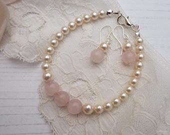 Rose Quartz Jewellery, Jewellery Set, Bridal Bracelet, Rose Quartz earrings, Pearl Bracelet, Blush Pink Wedding, Bridesmaid Jewellery,