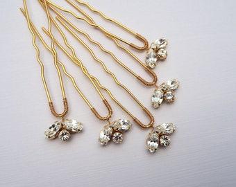 Bridal Hair pins, Crystal Hair Pins, Bridesmaid Hair Pins, Gold Hair Pins, Silver Hair Pins, Bridal Hair Accessory,