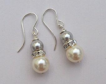 Bridal Pearl Earrings, Grey Bridesmaid Earrings, Silver Bridal Jewellery, Bridesmaid Gift, Ivory Pearl Jewellery, Bridesmaid Jewellery,